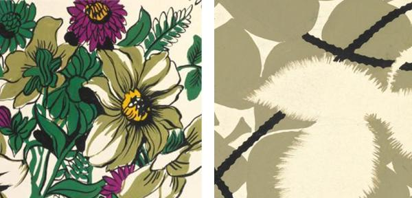 Zina de Plagny Dahlias Leaves and Ribbon1 Interiors | Post War Pattern Revival