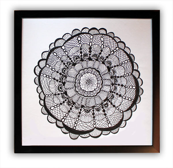 claudia brown hand drawn lace doily