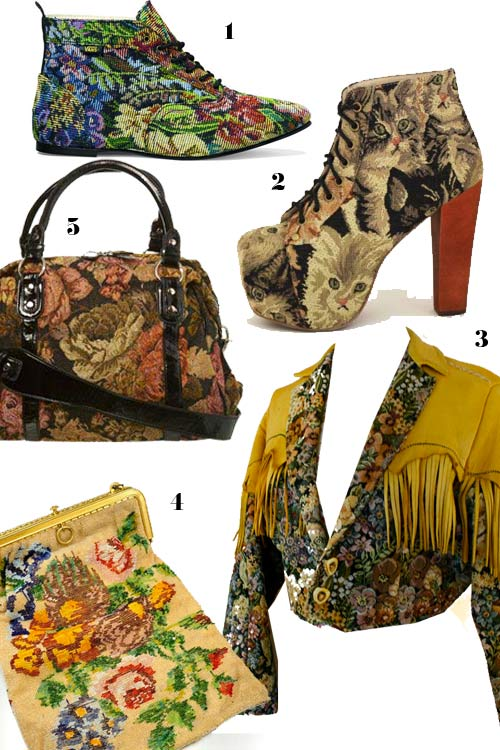 tapestry jacket, tapestry shoes, tapestry bag